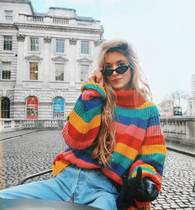 Rainbow Knitted Turtleneck Sweater