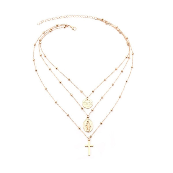 Triple layered Cross Necklaces