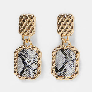 Snake Pattern Grande Rectangle Earrings
