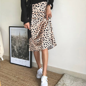Silk Leopard Printed Skirt