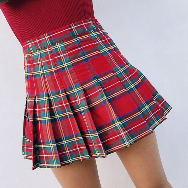 High Waisted Plaid Mini Skirt Shorts