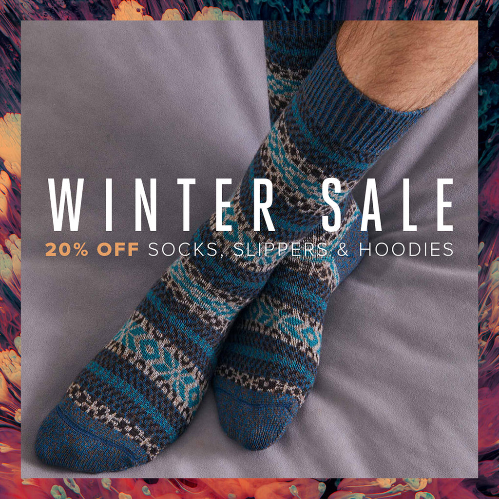 Winter Sale - 20% Off Socks, Slippers & Hoodies