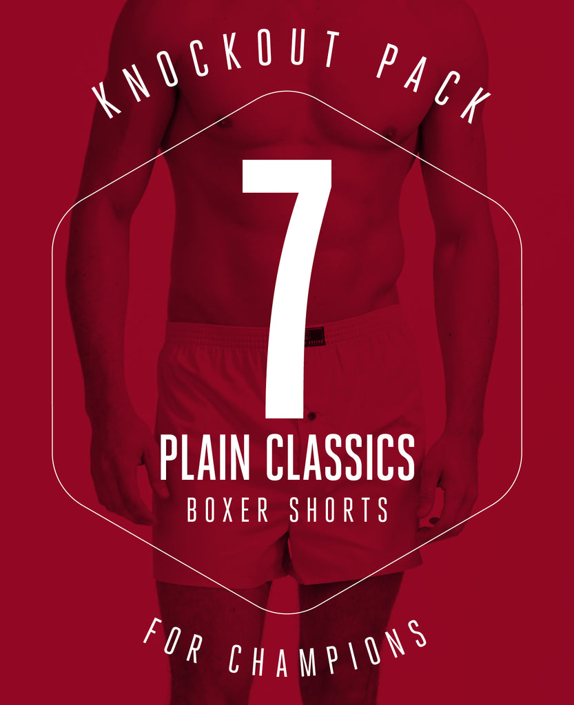 KNOCKOUT PACK! 7 PAIRS OF BOXER SHORTS IN PLAIN CLASSIC COLOURS FOR £79