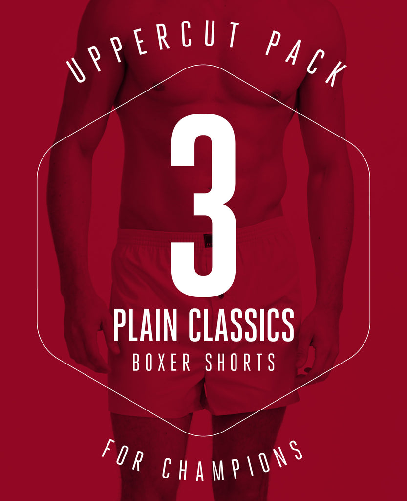 UPPERCUT PACK! 3 PAIRS OF BOXER SHORTS IN PLAIN CLASSIC COLOURS FOR £36