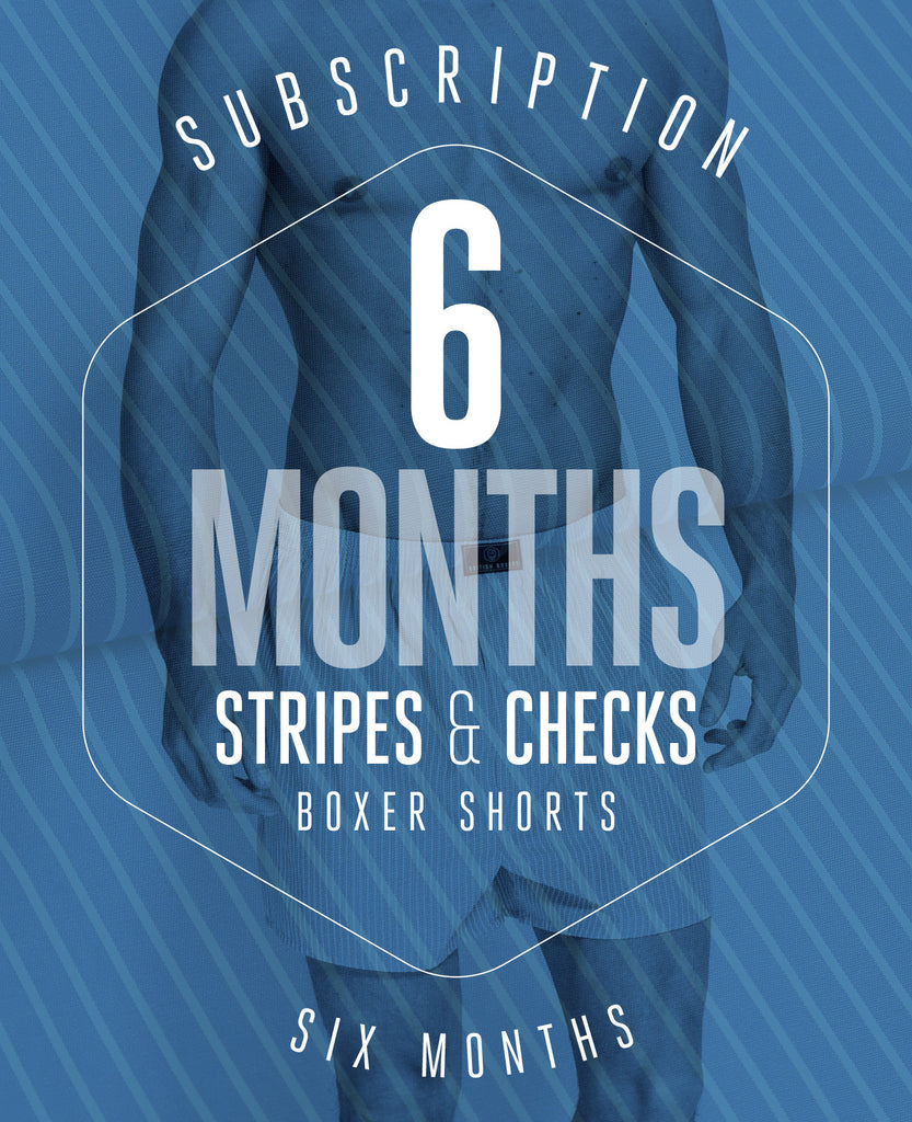 6 Month Subscription! 1 Pair of Stripes & Checks Boxer Shorts for 6 months