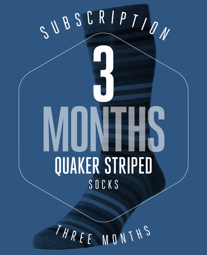 3 Month Subscription! 1 Pair of Quaker Striped Socks for 3 months