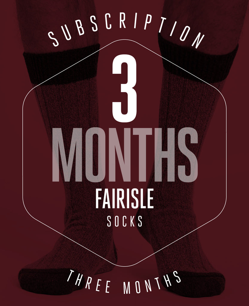 3 Month Subscription! 1 Pair of Fairisle Socks for 3 months