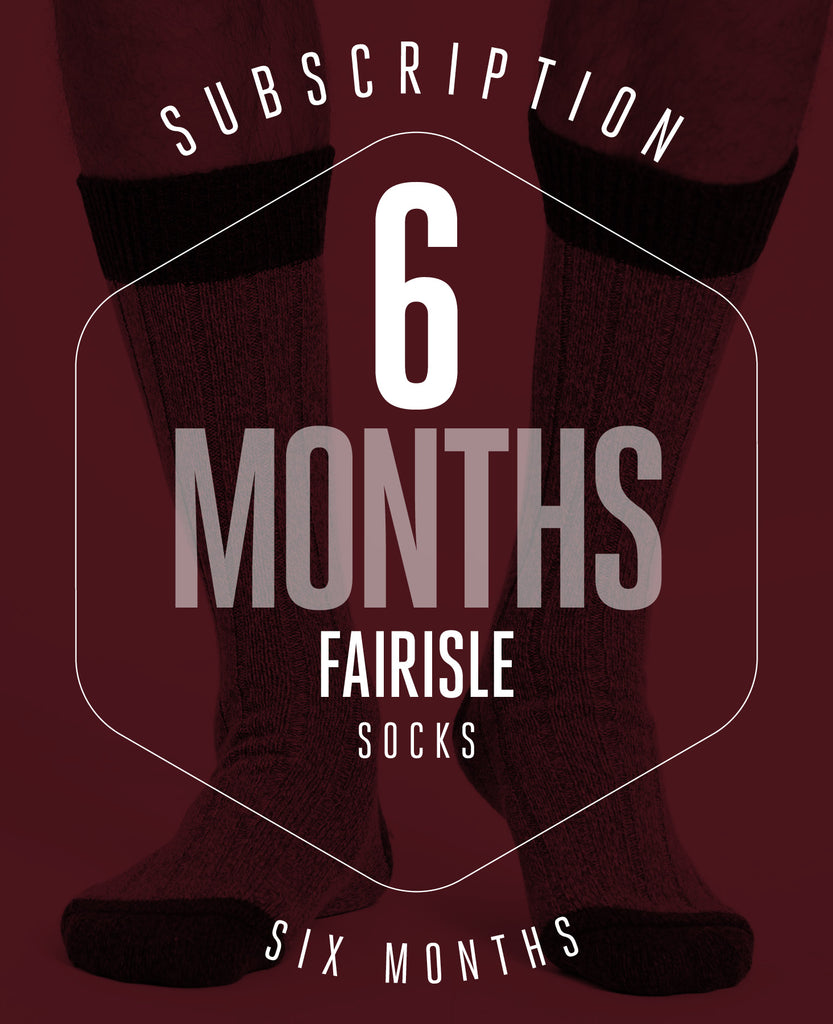 6 Month Subscription! 1 Pair of Fairisle Socks for 6 months