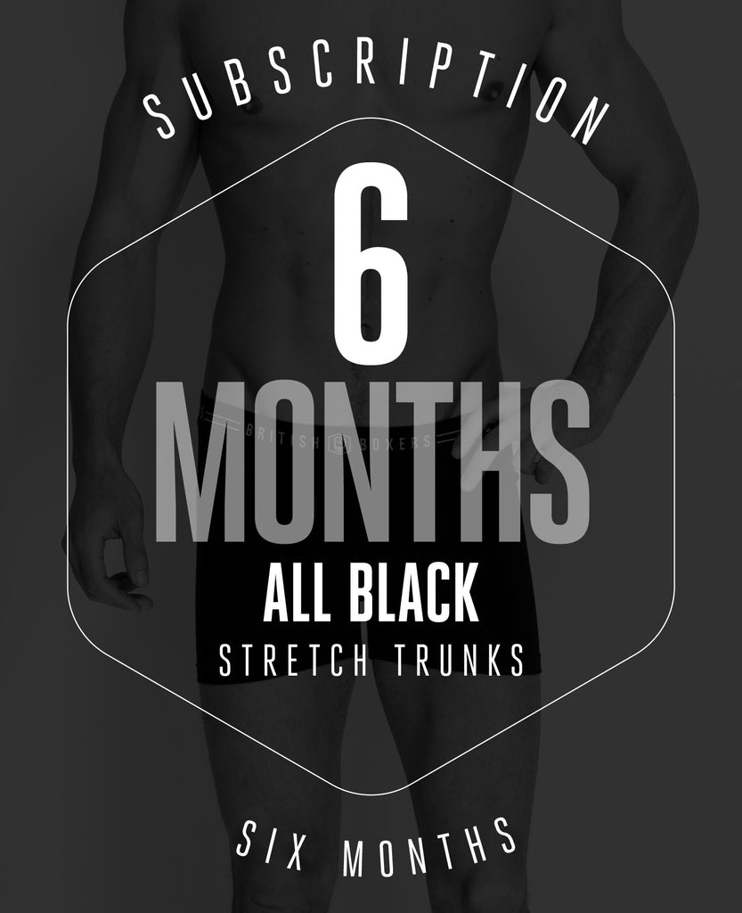 6 Month Subscription! 1 Pair of Black Stretch Trunks for 6 months
