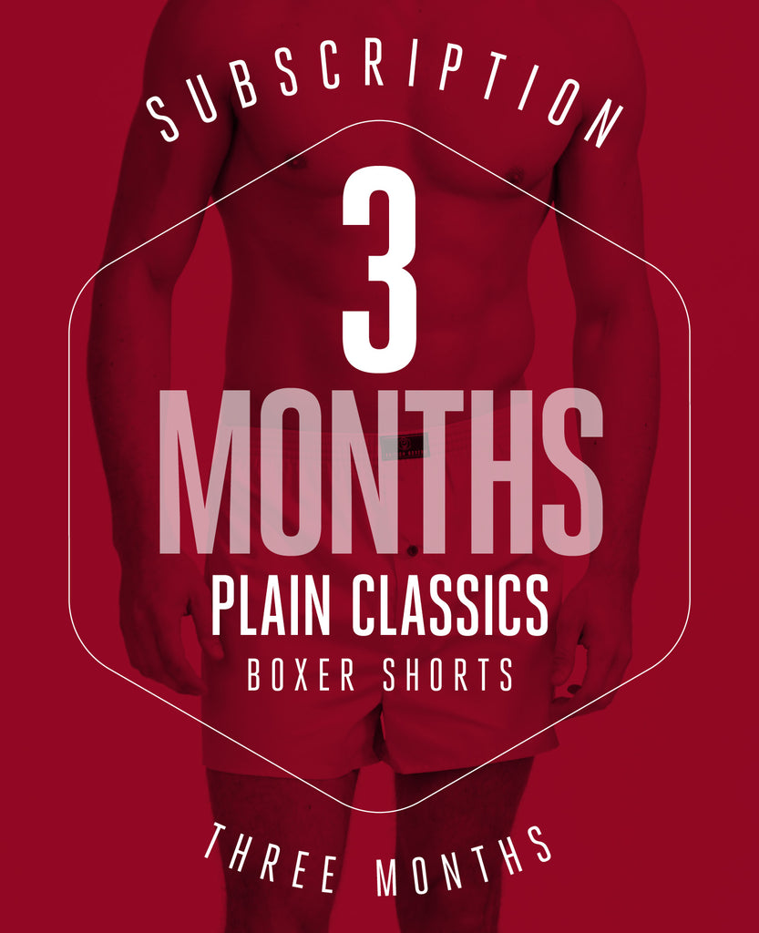 3 Month Subscription! 1 Pair of Boxer Shorts in plain classic colours for 3 months