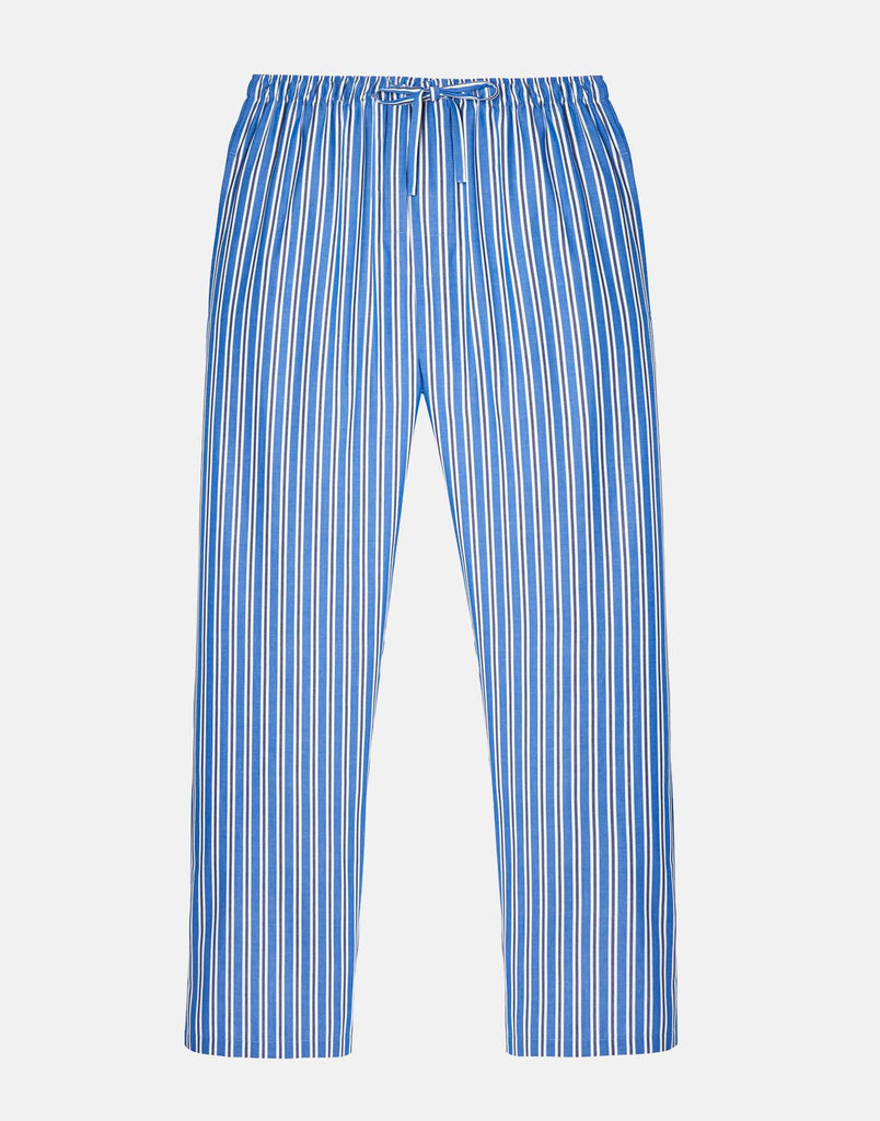 Men's Blue York Stripe Crisp Cotton Pyjama Trousers