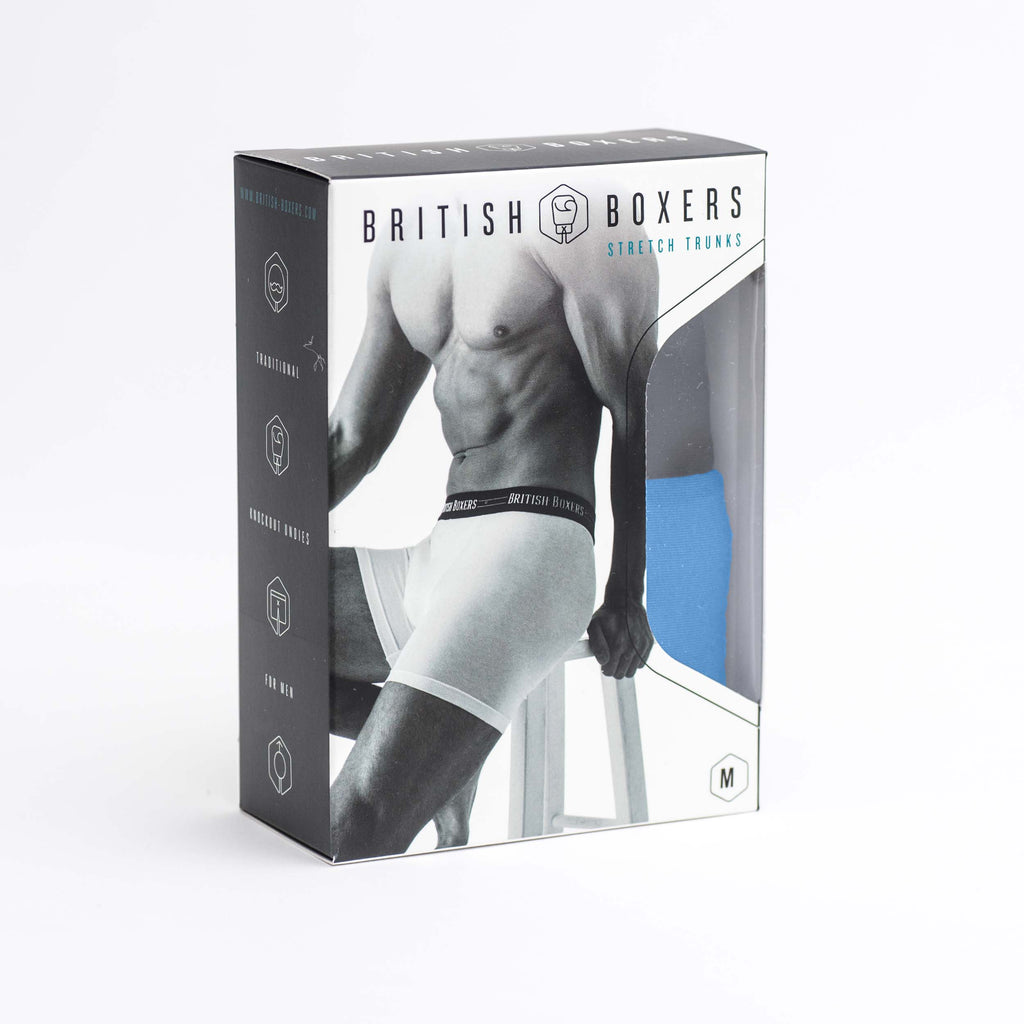 Two Pack British Boxers Stretch Trunks Coal Black & Space Cadet Blue
