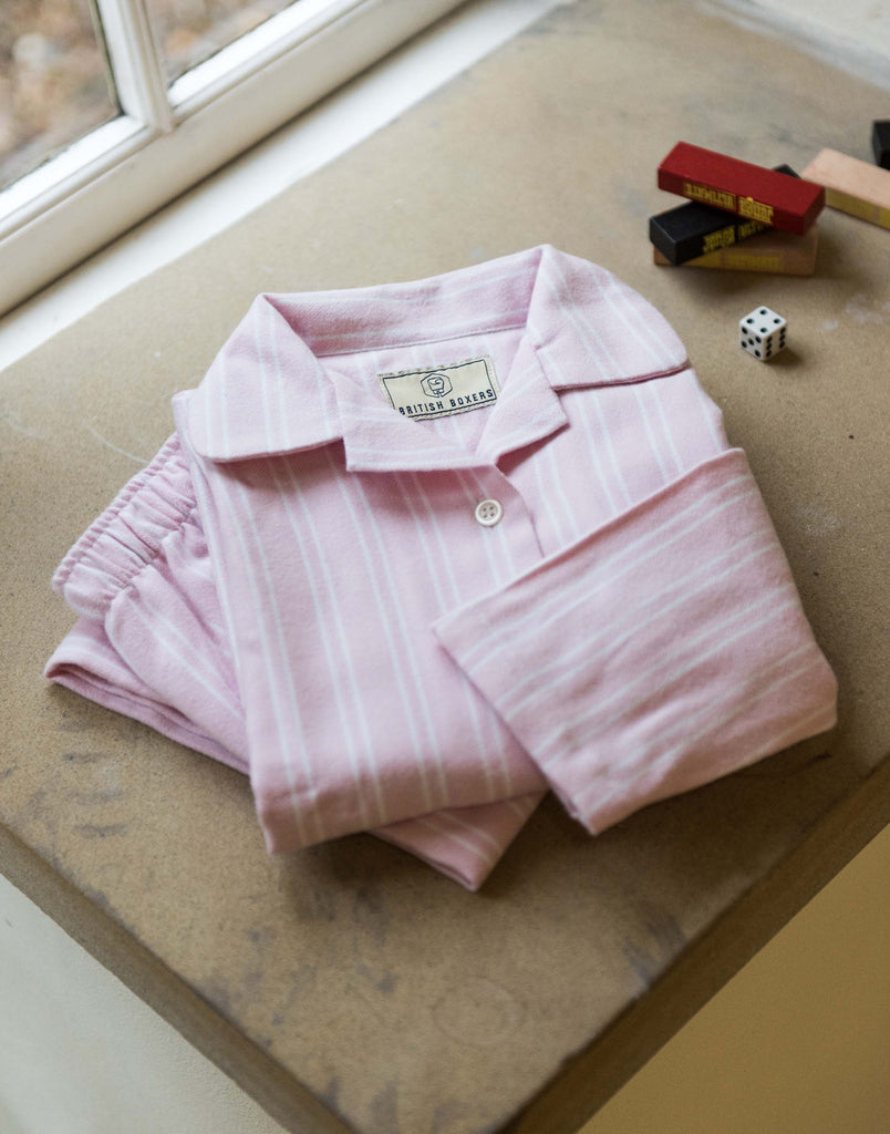 Children's Westwood Pink Stripe Brushed Cotton Pyjama Set