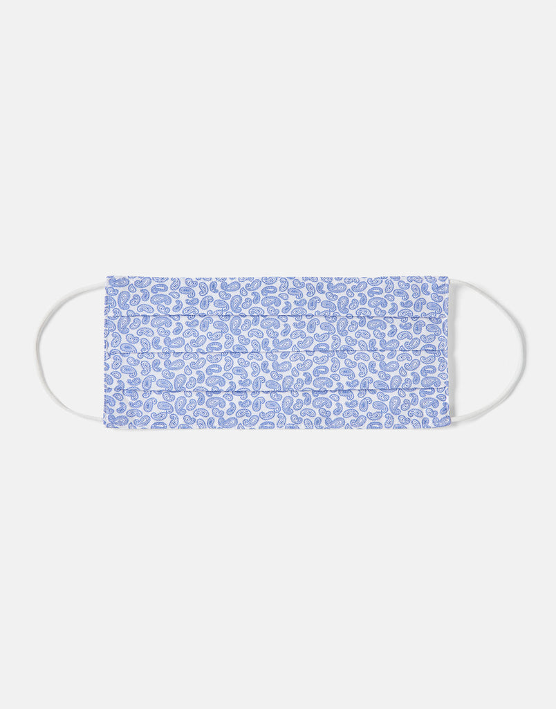 Double Layer Face Mask - White Paisley