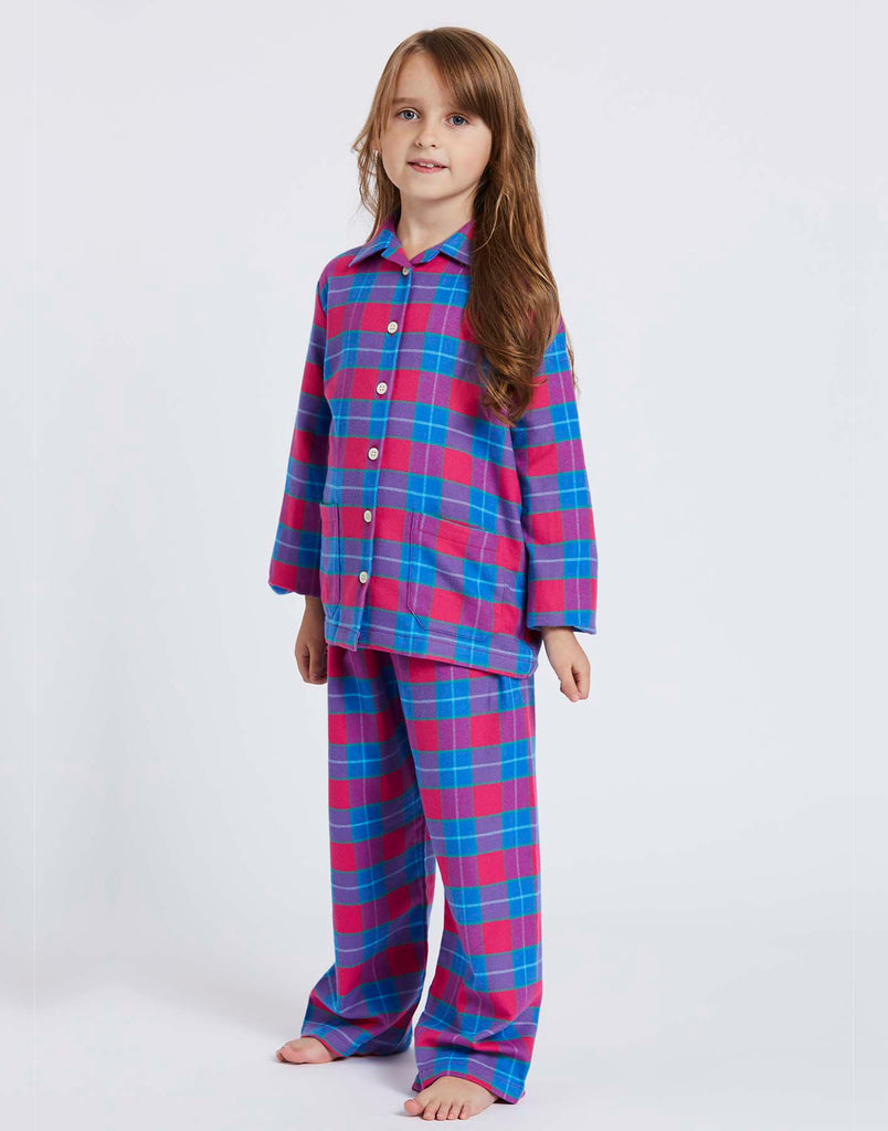 Children's Pink Tartan Brushed Cotton Pyjama Set