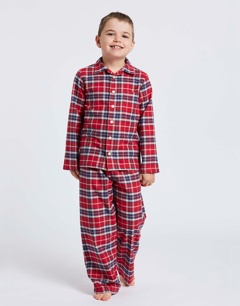 Children's Soft Red Tartan Brushed Cotton Pyjama Set
