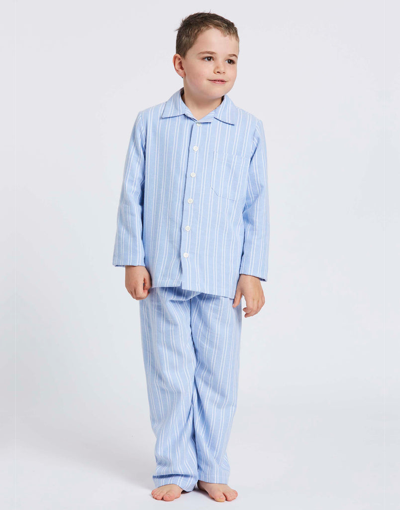 Children's Westwood Blue Stripe Brushed Cotton Pyjamas