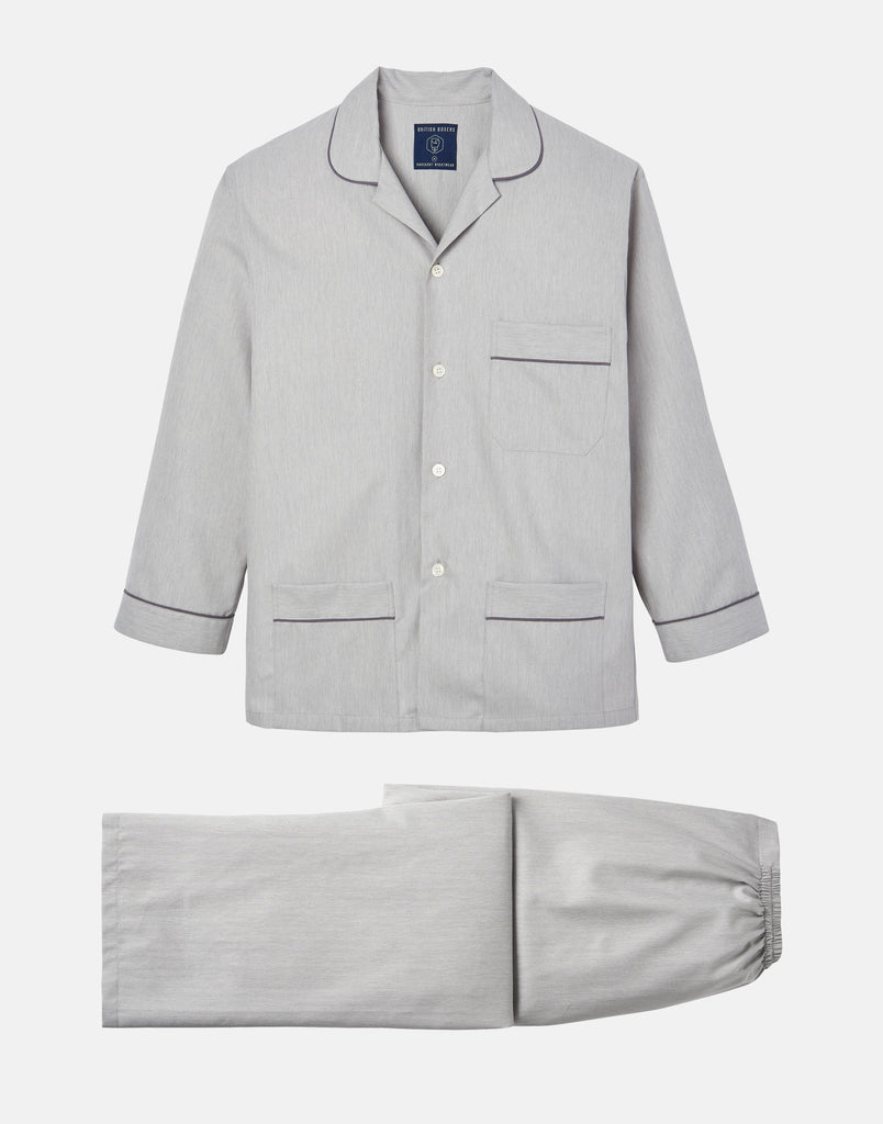 Men's Armoury Grey Herringbone Cotton Pyjama Set