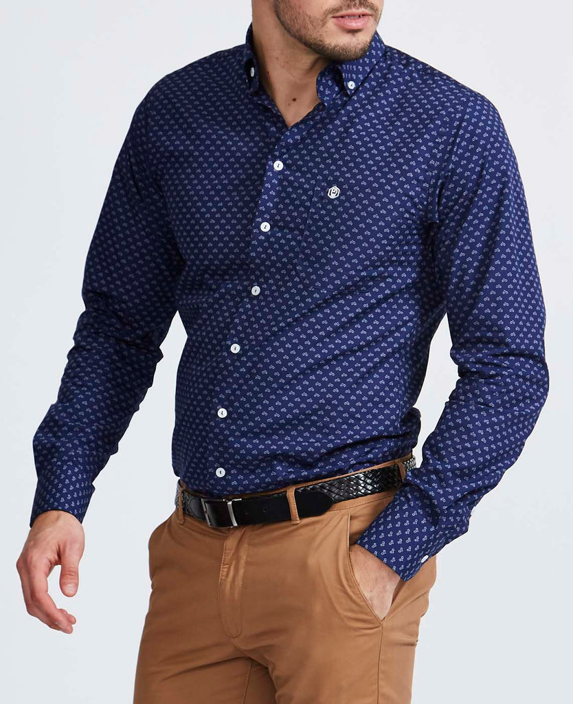 Men's Navy Scooter Slim Fit Shirt