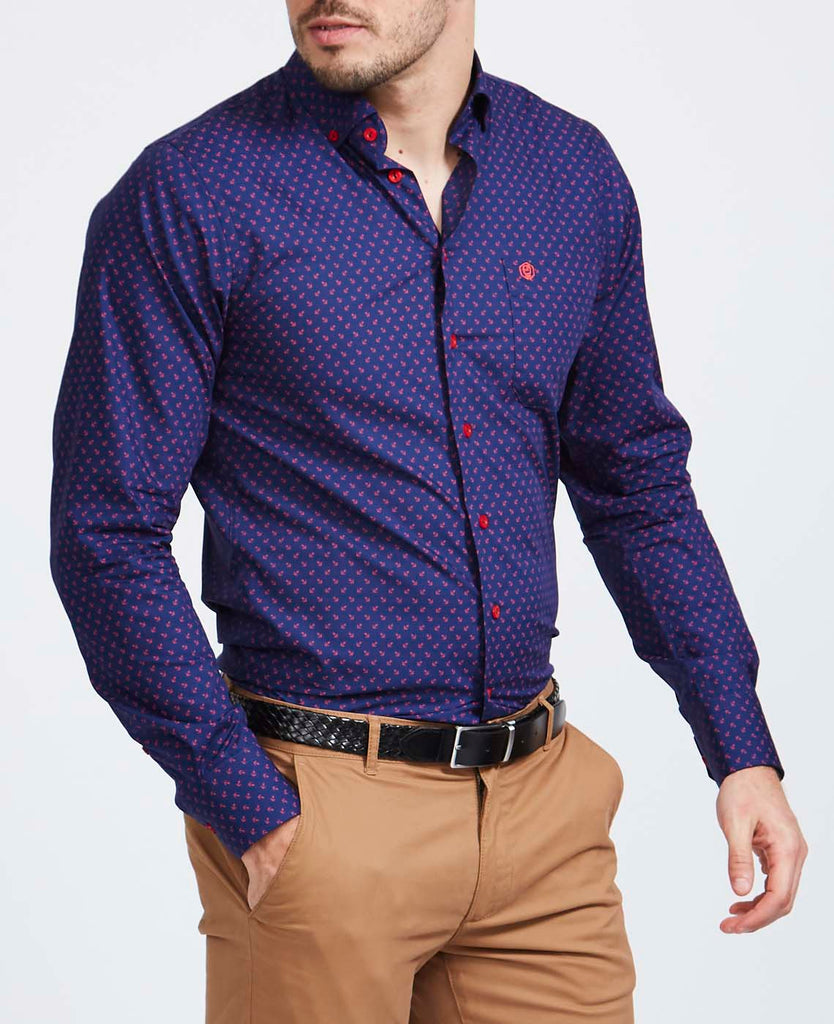 Men's Red Anchor Slim Fit Shirt