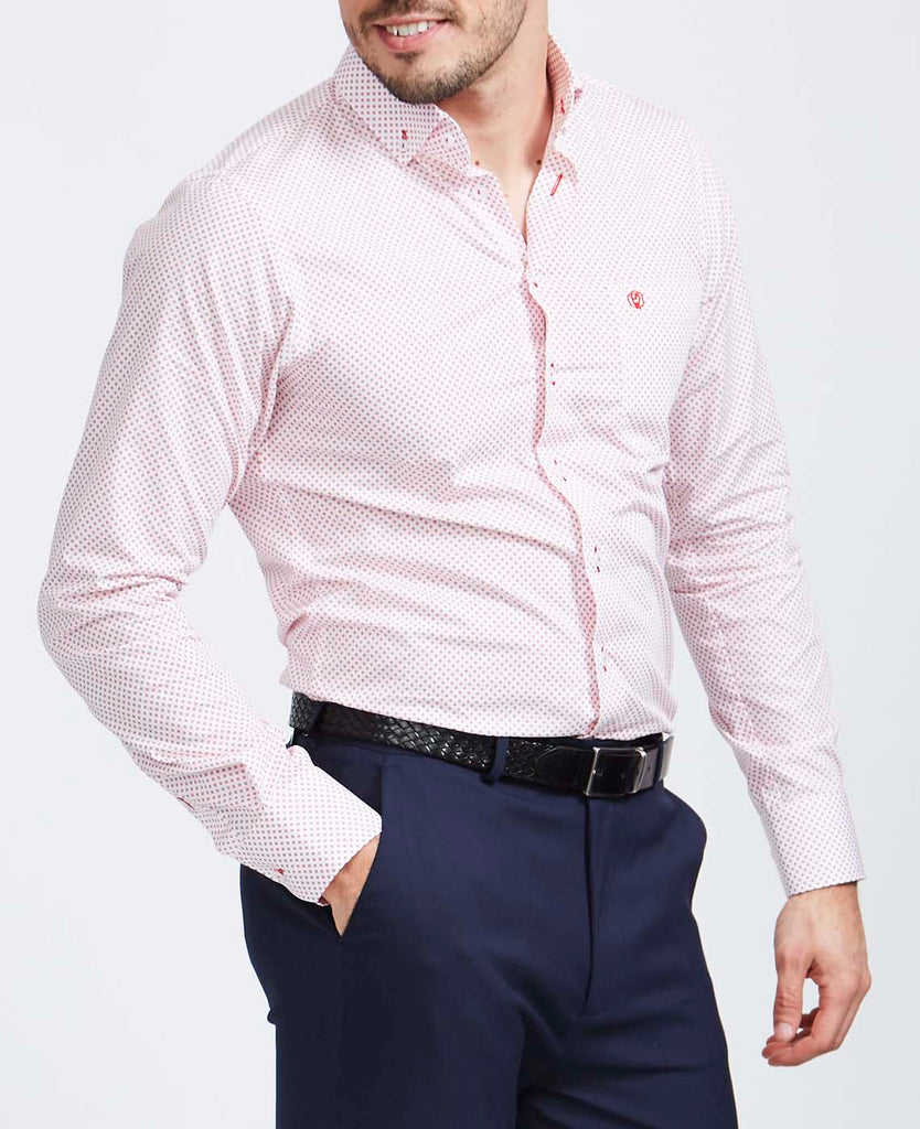Men's Stanway Red Print Slim Fit Shirt