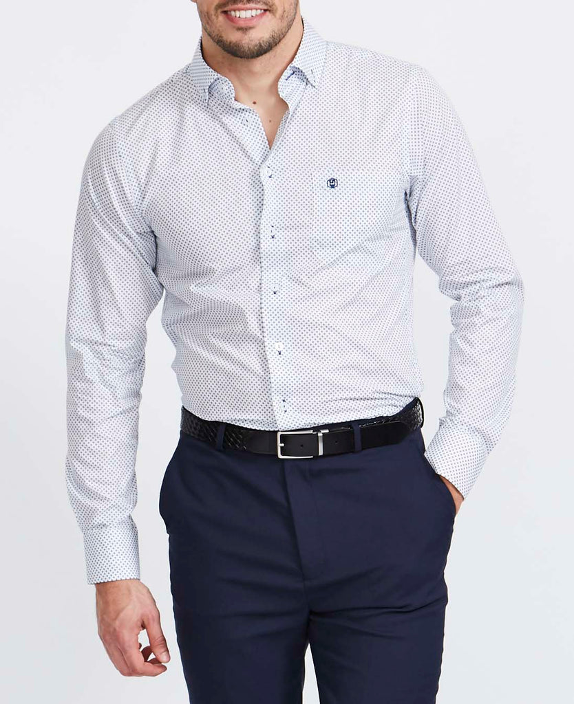 Men's Stanway Navy Print Slim Fit Shirt