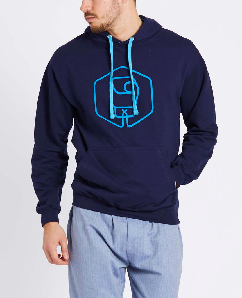 Men's Navy with Strobe Logo Varsity Hoodie