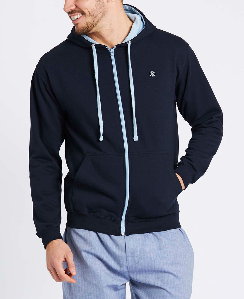 Men's Navy with Sky Blue Logo Zip Hoodie