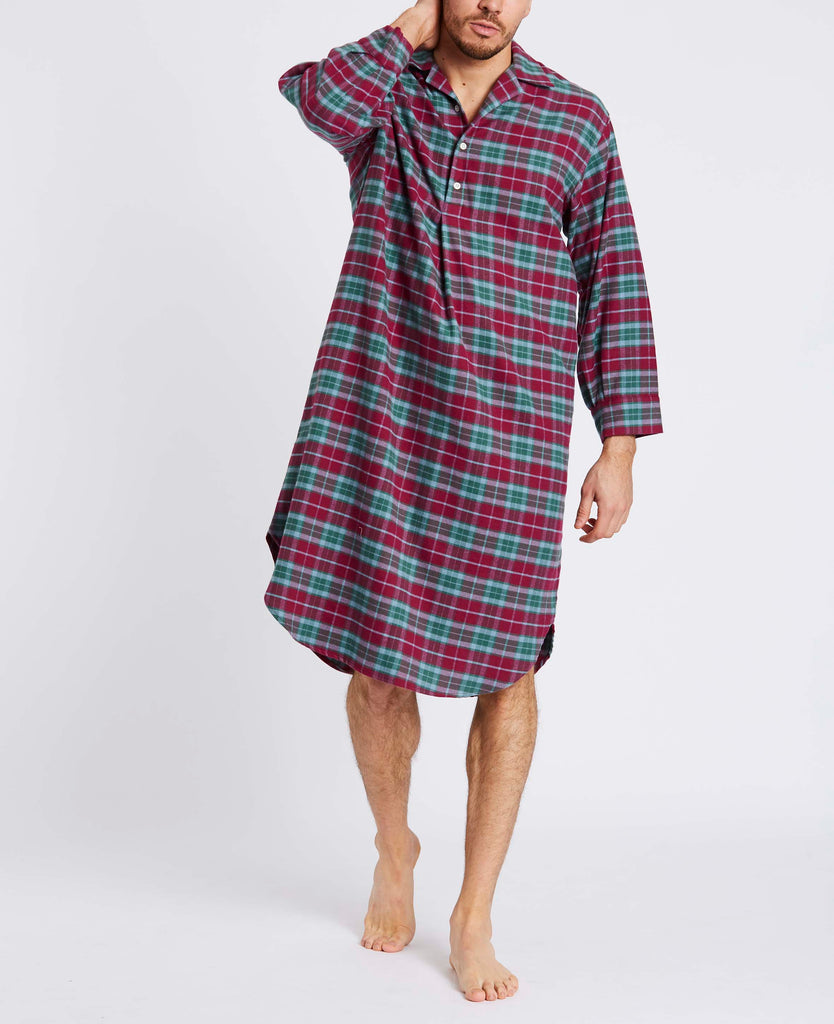 Men's Brunello Check Two-Fold Flannel Nightshirt