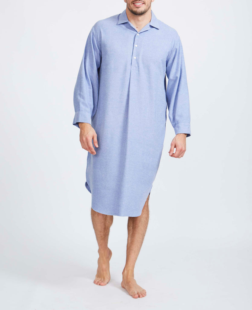 Men's Staffordshire Blue Herringbone Two-Fold Brushed Cotton Nightshirt