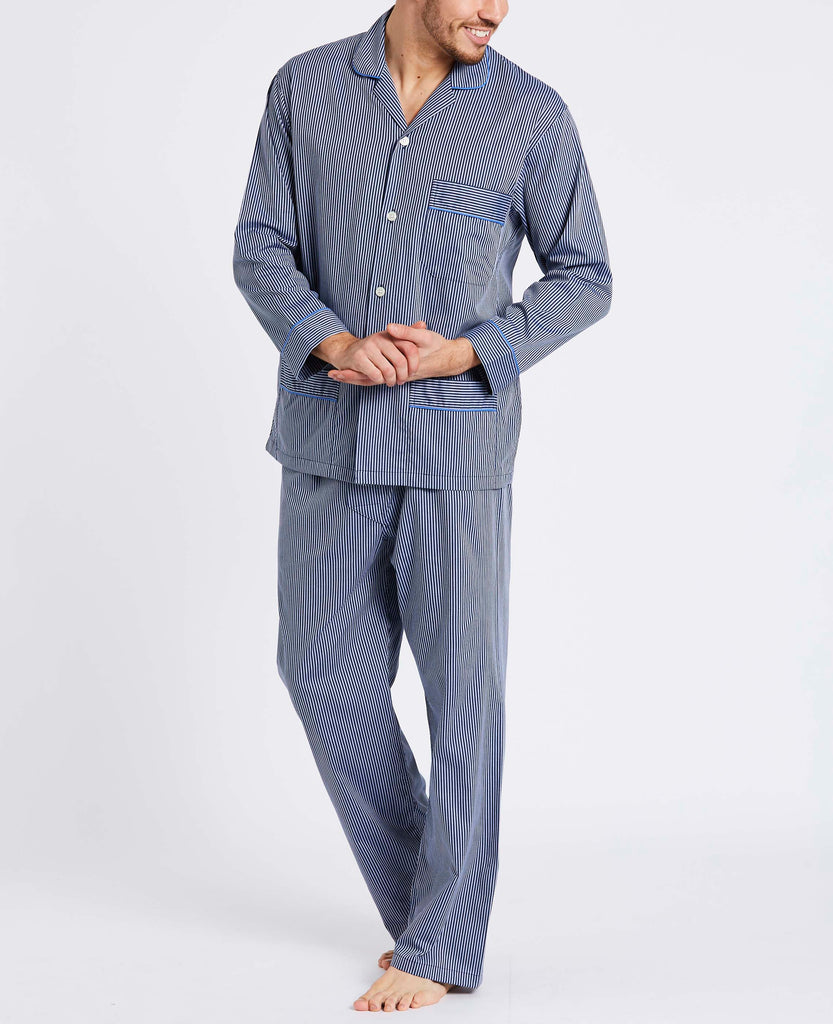 Men's Navy & Silver Minster Stripe Pyjama Set