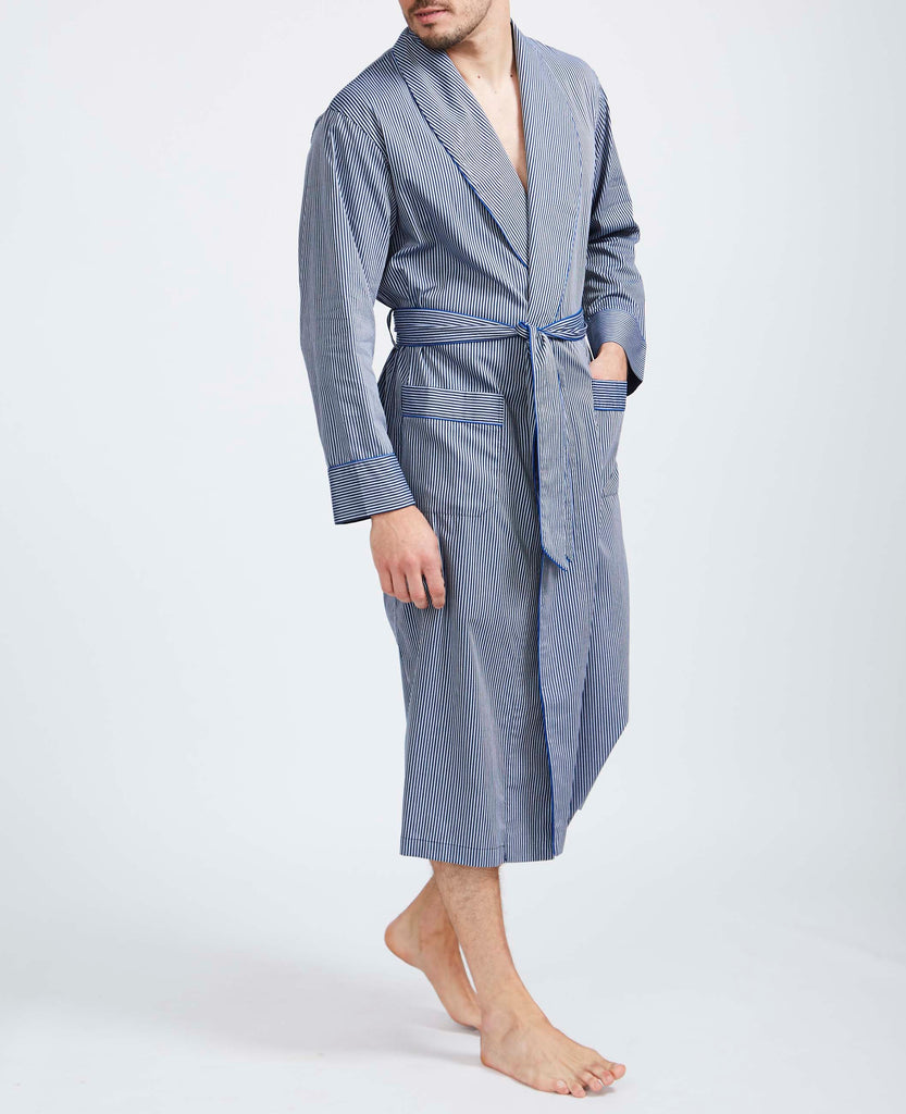Men's Navy & Silver Minster Stripe Dressing Gown