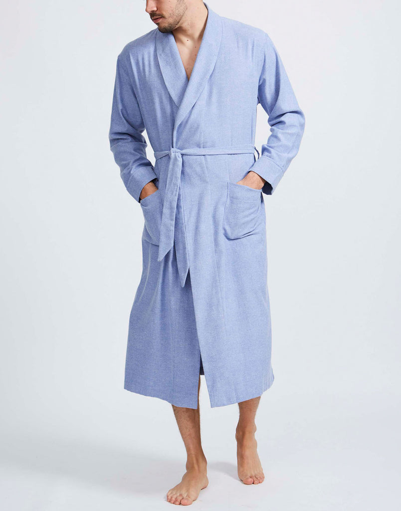 Men's Staffordshire Blue Herringbone Brushed Cotton Dressing Gown