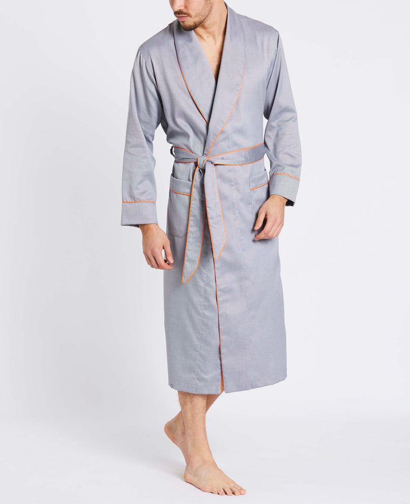 Men's Gunmetal Silver Two-Fold Cotton Robe