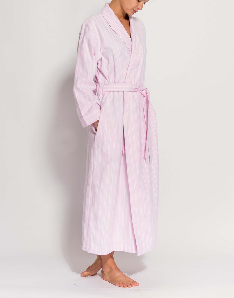 Women's Westwood Pink Stripe Brushed Cotton Dressing Gown
