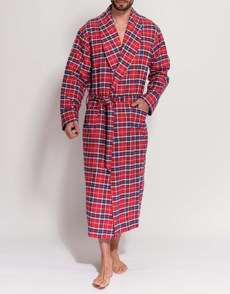 Men's Soft Red Tartan Brushed Cotton Dressing Gown