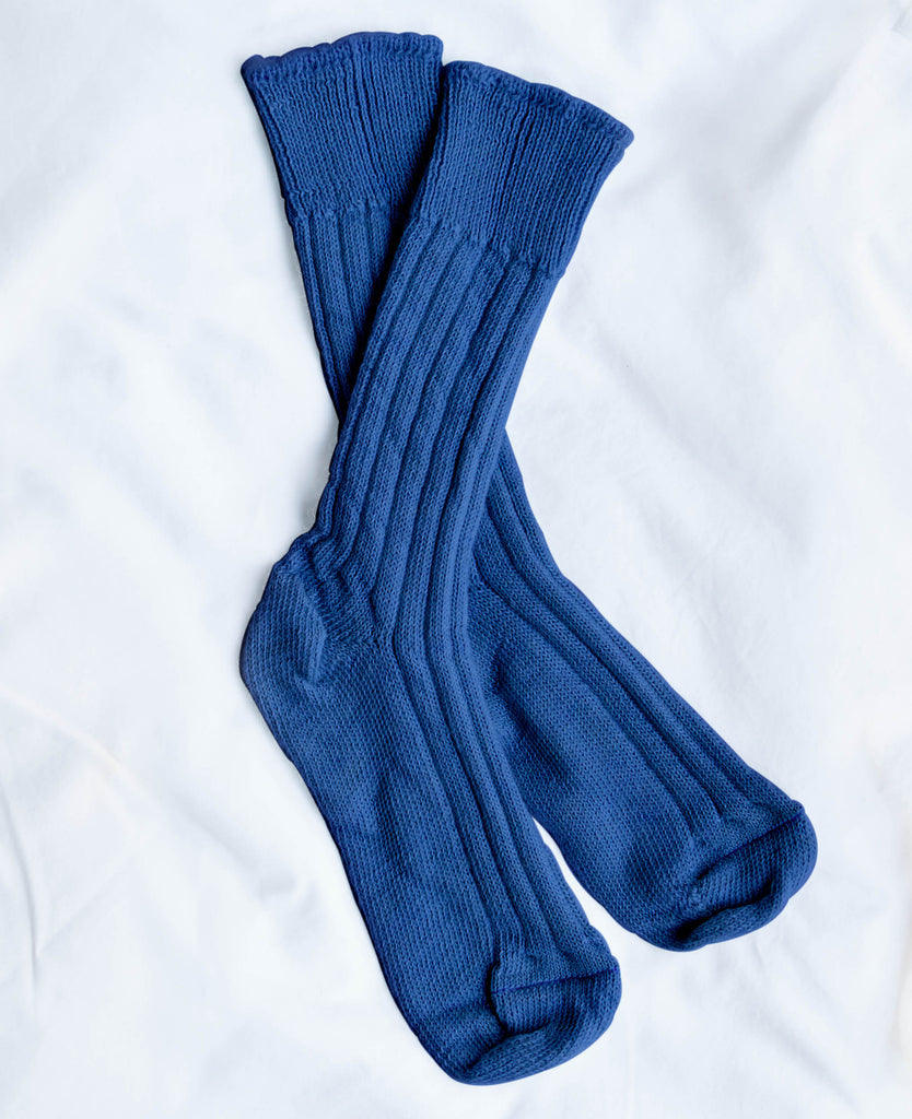 Women's British Boxers Limoges Blue Alpaca Bed Socks