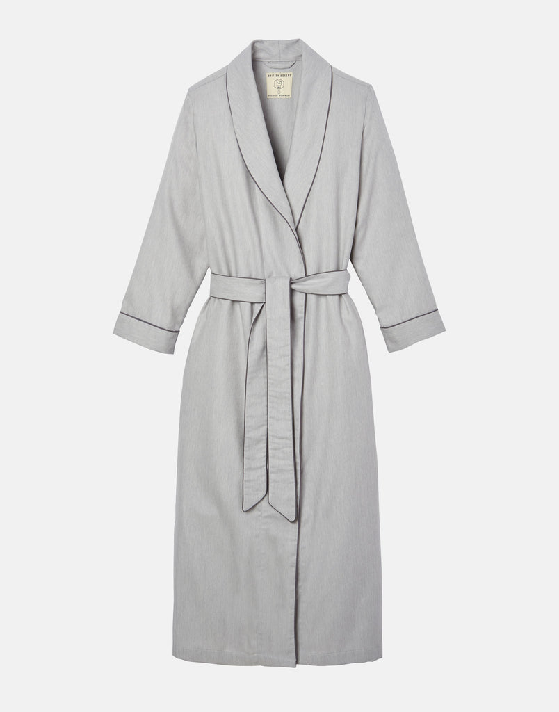 Women's Armoury Grey Herringbone Dressing Gown