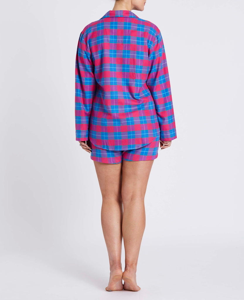 Women's Short Pink Tartan Two-Fold Flannel Pyjama Set
