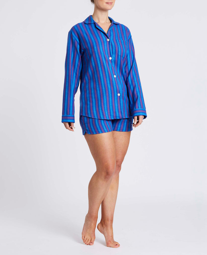 Women's Short Jester Stripe Two-Fold Flannel Pyjama Set