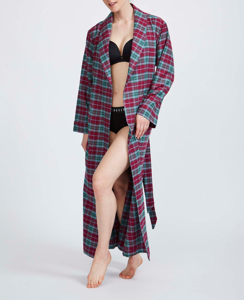 Women's Brunello Check Two-Fold Flannel Robe