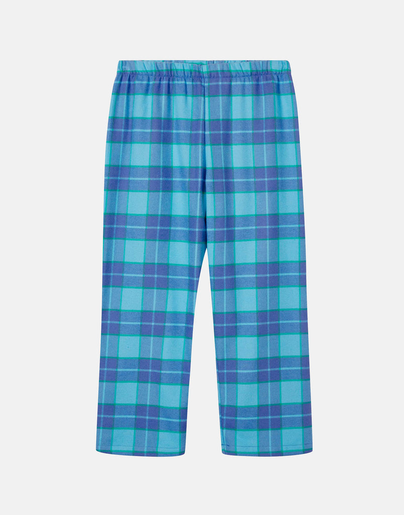 Children's Aqua Tartan Brushed Cotton Pyjama Set