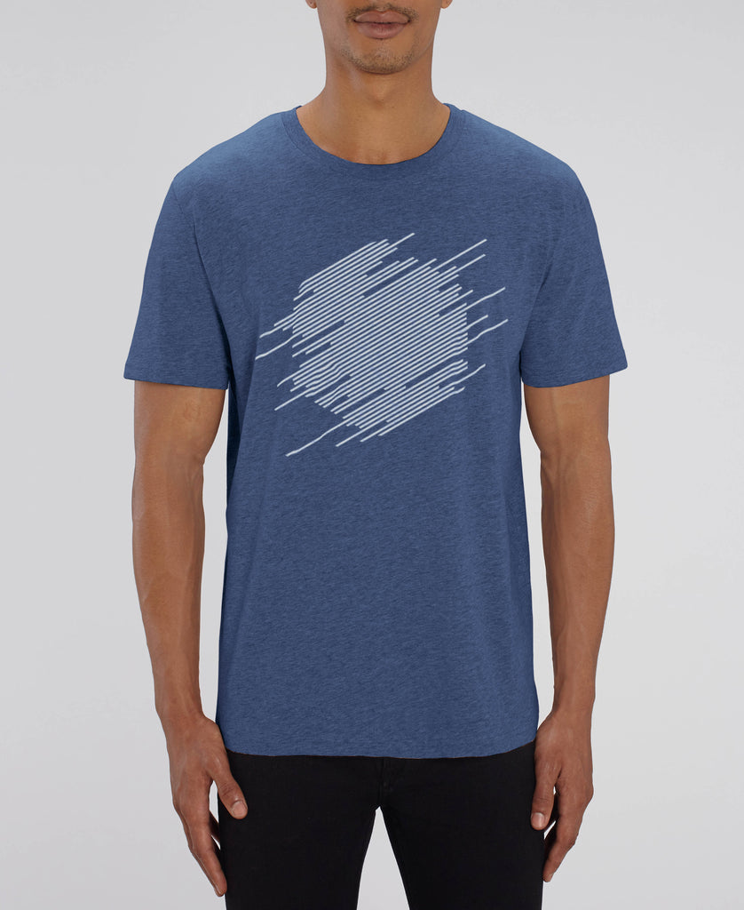Abstract Hexagon T-Shirt - White on Blue Slub