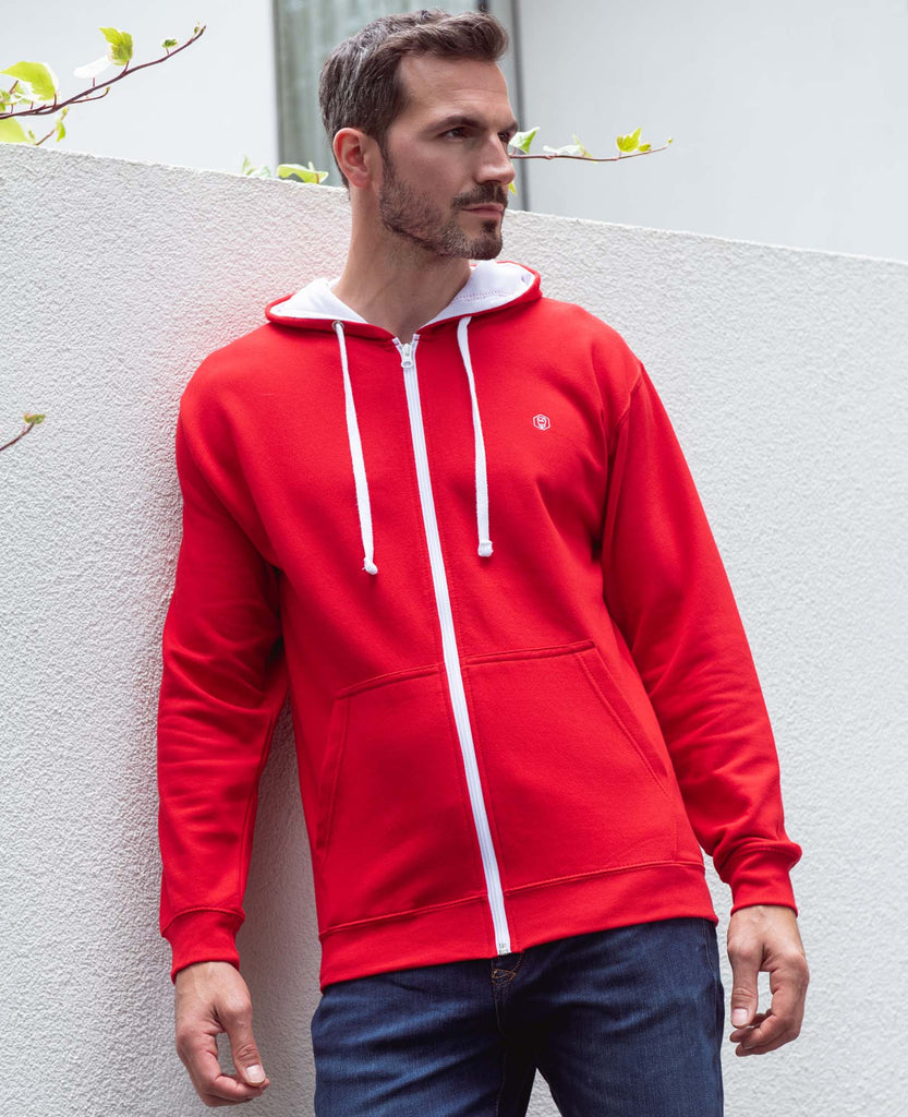 Men's Red with White Logo Zip Hoodie