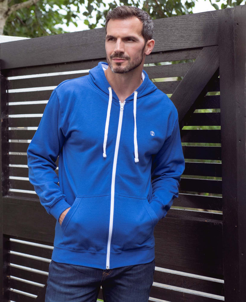 Men's Blue with White Logo Zip Hoodie