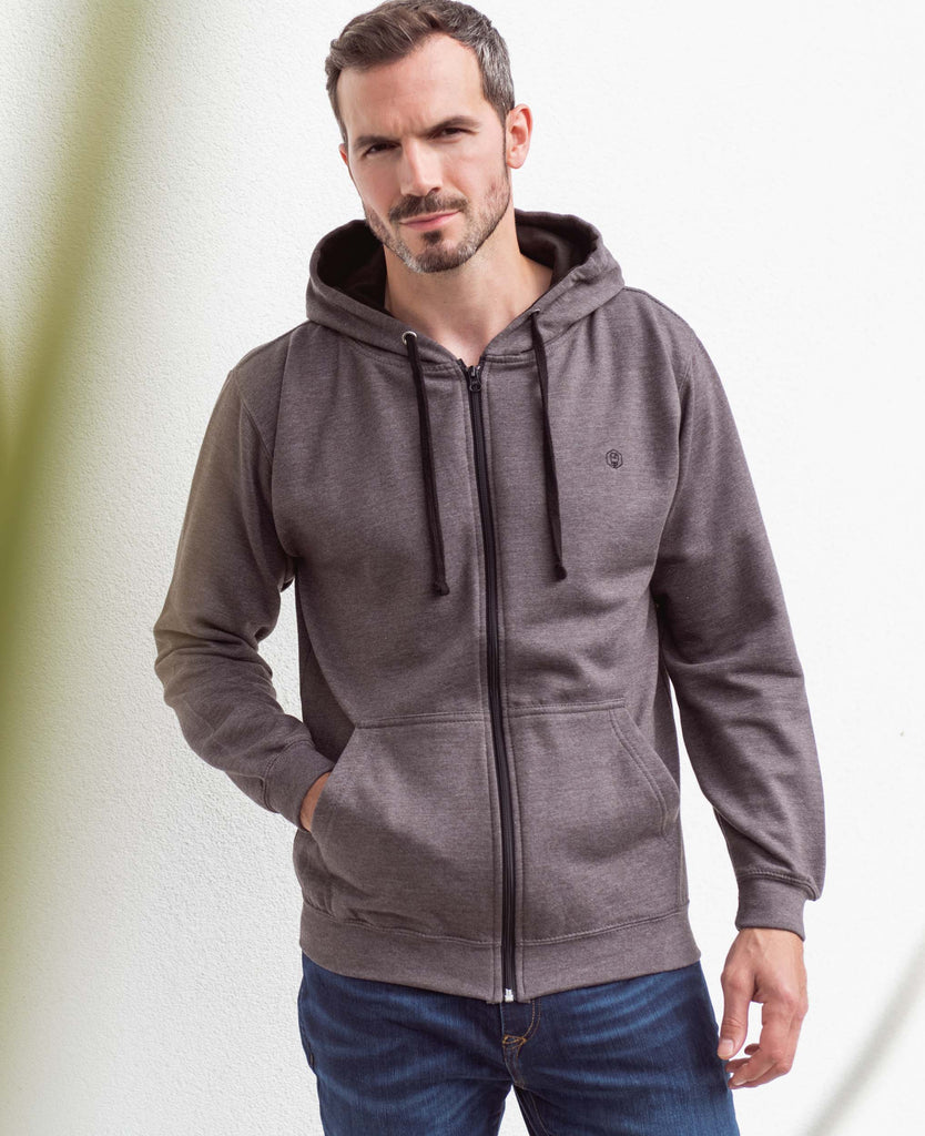 Men's Slate with Black Logo Zip Hoodie