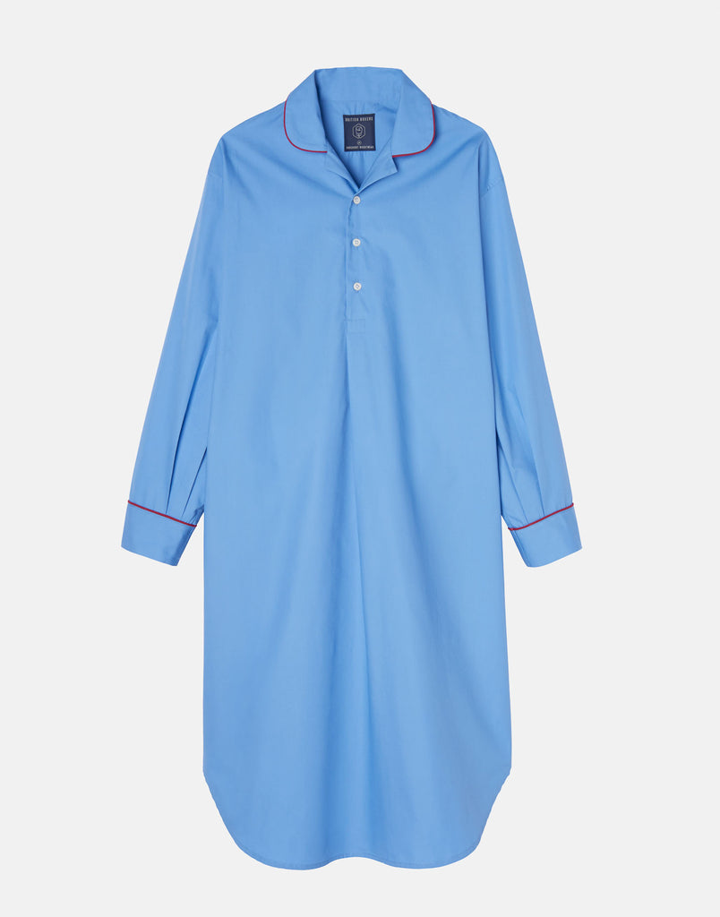 Men's Crisp Cotton Nightshirt – Contemporary Blue