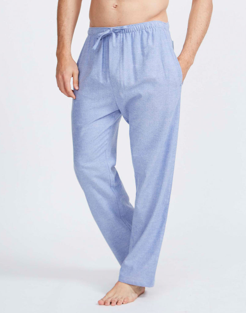 Men's Staffordshire Blue Herringbone Two-Fold Flannel Pyjama Trousers