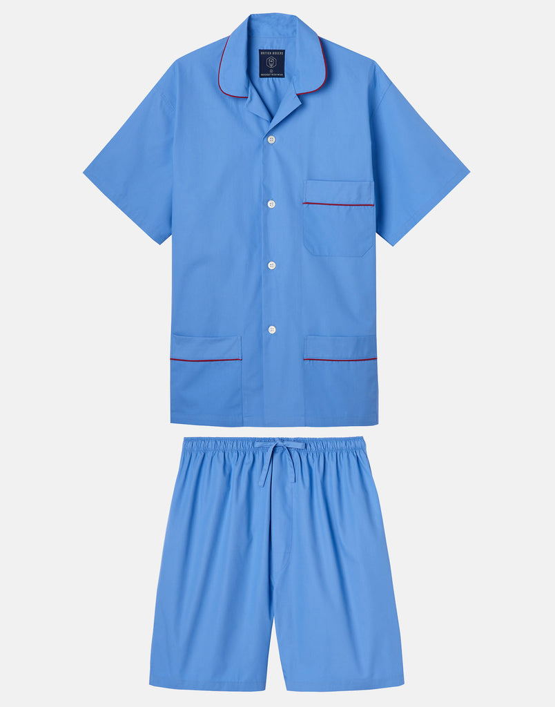 Men's Crisp Cotton Short Pyjama Set – Contemporary Blue