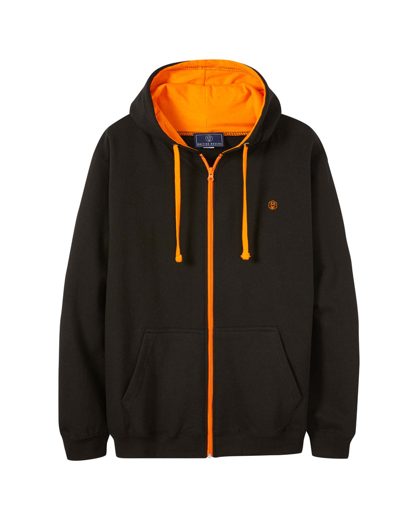 Men's Black with Orange Logo Zip Hoodie